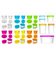 set realistic plastic container packaging vector image vector image
