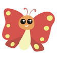 smiling red butterfly on white background vector image vector image