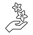spa hand care icon outline style vector image