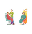 spa salon woman and man barber hairdresser vector image vector image