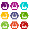 sports bra icons set 9 vector image