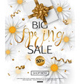 spring sale banner with chamomile flower vector image vector image