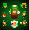 st patricks days set with horseshoe vector image