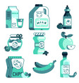 supermarket line icon set vector image