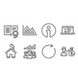 teamwork results diploma and synchronize icons vector image