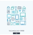 Technology integrated thin line symbols Modern vector image vector image