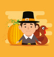 thanks giving card with turkey and pilgrim vector image vector image