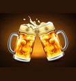 traditional glasses of beer with droplets of vector image vector image