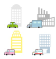 Transport and public buildings set cartoon style vector image
