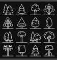 tree icons set on black background vector image vector image