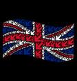waving british flag pattern of arrow down left vector image vector image