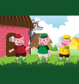 wolf and three little pigs vector image