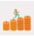 woman running on coins vector image vector image