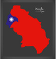 xinzhu taiwan map with taiwanese national flag vector image vector image