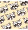 seamless pattern with head of a happy raccoon vector image
