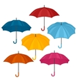 Set of abstract color umbrellas on white vector image