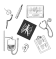 Diagnostics and medical test object sketches vector image