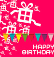Happy Birthday Birthday Pink Card with Colorful vector image