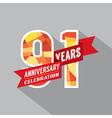 91st Years Anniversary Celebration Design vector image vector image