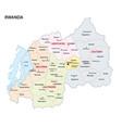 administrative map rwanda vector image vector image