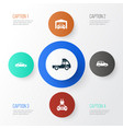 auto icons set collection of van car automobile vector image vector image