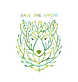bear face made from tree save earth concept vector image vector image