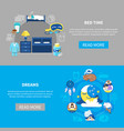 bedtime dreams 2 flat banners vector image vector image