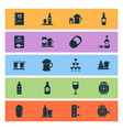 beverages icons set with ale mug bottle of wine vector image vector image