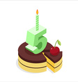Birthday 5 years Cake and Candle isometrics Number vector image vector image