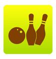 bowling sign brown icon at vector image vector image