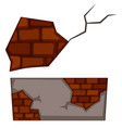 brickwall with cracks on white background vector image
