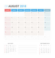 calendar planner for august 2018 vector image vector image
