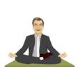 Calm businessman meditating in lotus pose vector image