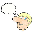 cartoon happy male face with thought bubble vector image vector image