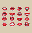 cartoon lips stickers vector image