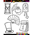 cartoon retro objects coloring page vector image