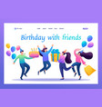 celebrate birthday in circle best friends flat vector image vector image