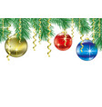 christmas balls on fir branches vector image vector image