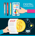 colorful set icon and concept digital marketing vector image vector image