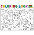 coloring book horse near farm theme 1 vector image vector image