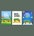 cute cartoon school bus poster template set back vector image