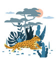 cute leopard plant and tree background graphic vector image vector image