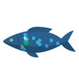 dark blue fish isolated on white water animal vector image