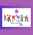 disco dancing characters landing page template vector image