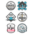 entertainment icons hookah skate shop snowboarding vector image vector image