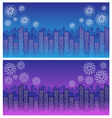 firework over sky in city night vector image vector image
