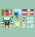 flat interior top view pieces of furniture design vector image vector image