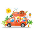 happy family traveling by red car flat vector image