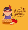 happy thanks giving card with native vector image