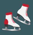 ice skates with fur footwear for winter sports vector image vector image